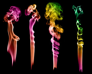 Set of abstract color smoke on black background