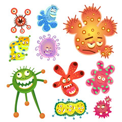 bacteria and virus cartoon