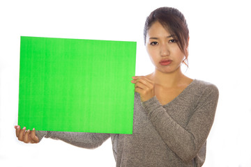 Asian young woman holding message board poster