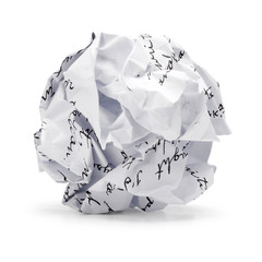 Crumpled sheet of free hand script text junk paper can recycle