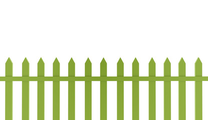 Green old fence isolated on white