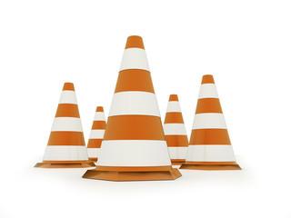 Orange road cones rendered isolated on white