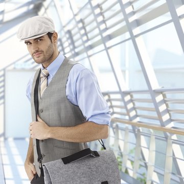 Young businessman arriving to office