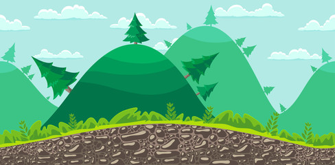 Seamless landscape background. Forest.