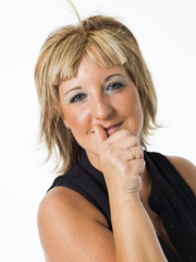 real middle aged woman posing on white background