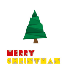Merry Christmas Paper Tree Card