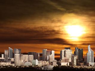 skyline al tramonto di Parigi
