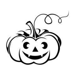 Black silhouette of Jack-O-Lantern (Halloween pumpkin).