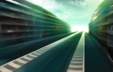 speed track road in business city wallpaper