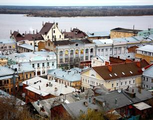First lights in windows at old merchant street Nizhny Novgorod