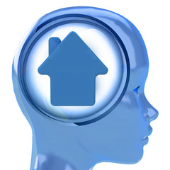 blue human head with brain cloud with house icon inside