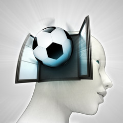 football sport coming out or in human head window