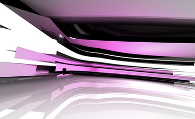 violet abstract bend shaped three dimensional structure