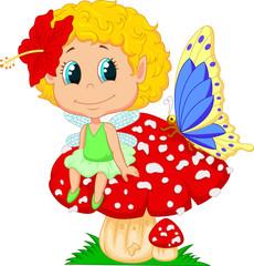 Baby fairy elf sitting on mushroom