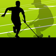 Floor ball players active sports silhouettes background illustra