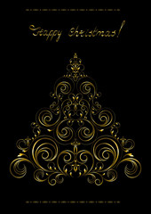 Gold openwork  Christmas Tree with crosses