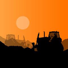 Bulldozer and excavator loader at industrial construction site v