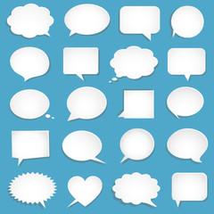 Vector blank empty white speech bubbles