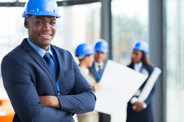 Fototapeta african male construction manager obraz