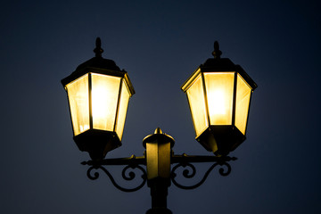 Street lamp post at night time.