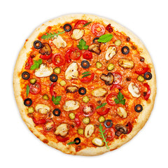 Wall Mural - Pizza with mushrooms isolated on white background.