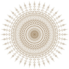 Decorative gold and frame with vintage round patterns on white.