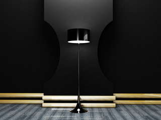 floor lamp in the dark room