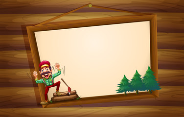 A hanging wooden signboard with a woodman shouting