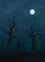 Halloween design background with spooky graveyard, naked trees,