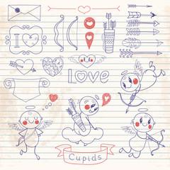 Set Wedding and Valentine's Day doodles. Vector illustration.