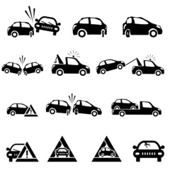 Icons set of car accident