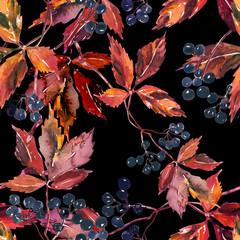Wild wine seamless pattern