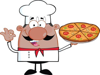 Cute African American Chef Cartoon Character Holding A Pizza Pie