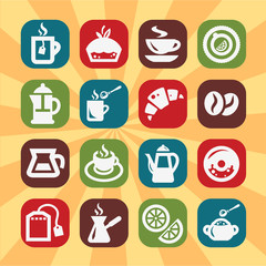 color coffee and tee icons