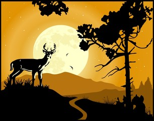 Landscape background. Deer on the moonlight
