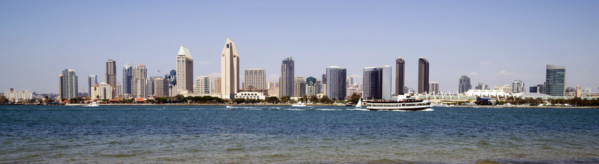 Beautiful Sunny Day San Diego California Panoramic Downtown City