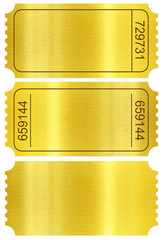 Ticket set. Golden ticket stubs isolated on white with clipping