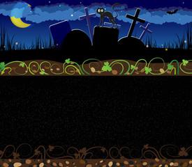Night cemetery and black cat