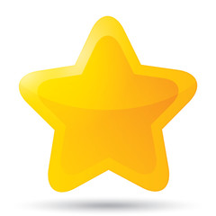 Golden star icon for rating on white background.