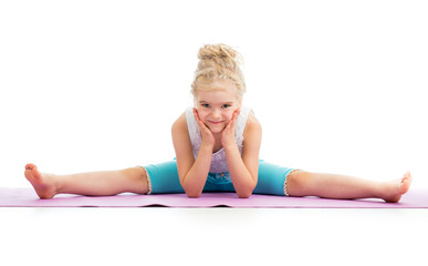 Gymnast kid girl isolated