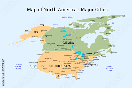 Map of North America - Major Cities