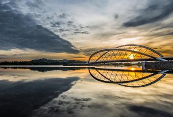Spoed Foto op Canvas Brug Sunrise at a bridge in Putrajaya, Malaysia