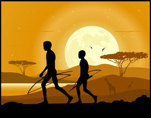 Africa landscape background. Hunter, animal silhouettes