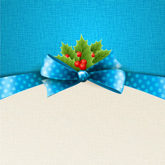 Vector christmas background with  bow and holly