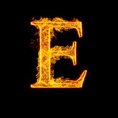 Fire alphabet letter E