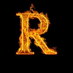 Fire alphabet letter R