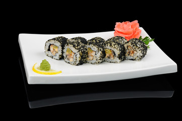 Rolls with black flying fish caviar
