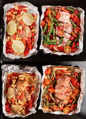 Set of two dishes before and after cooking
