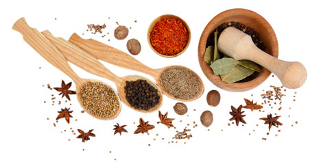 Poster Kruiden 2 Various spices and herbs isolated on white