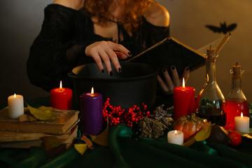 Halloween witch on dark background